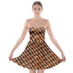 Dirty Pattern Roof Texture Strapless Bra Top Dress