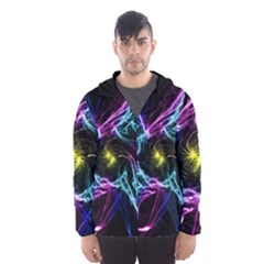 Abstract Art Color Design Lines Hooded Wind Breaker (men)