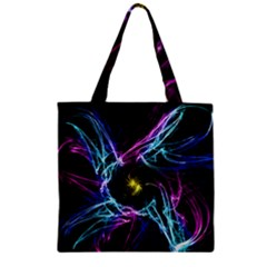 Abstract Art Color Design Lines Zipper Grocery Tote Bag by Nexatart