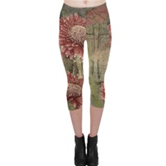 Flowers Plant Red Drawing Art Capri Leggings