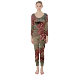 Flowers Plant Red Drawing Art Long Sleeve Catsuit by Nexatart