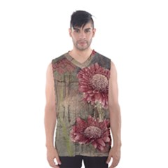 Flowers Plant Red Drawing Art Men s Basketball Tank Top
