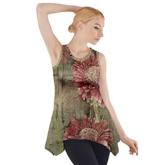 Flowers Plant Red Drawing Art Side Drop Tank Tunic