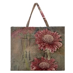 Flowers Plant Red Drawing Art Zipper Large Tote Bag by Nexatart