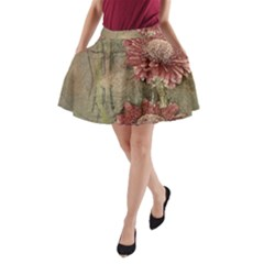 Flowers Plant Red Drawing Art A Line Pocket Skirt by Nexatart