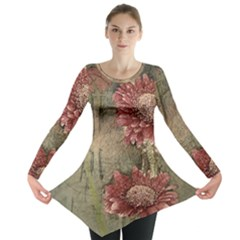 Flowers Plant Red Drawing Art Long Sleeve Tunic