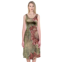 Flowers Plant Red Drawing Art Midi Sleeveless Dress