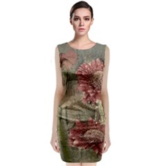 Flowers Plant Red Drawing Art Classic Sleeveless Midi Dress