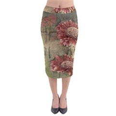 Flowers Plant Red Drawing Art Midi Pencil Skirt by Nexatart