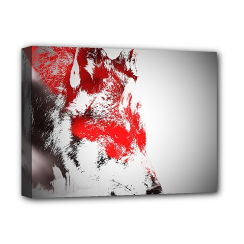Red Black Wolf Stamp Background Deluxe Canvas 16  X 12   by Nexatart