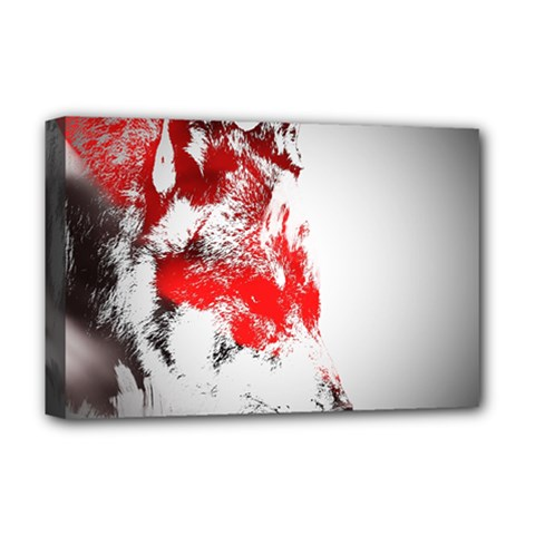 Red Black Wolf Stamp Background Deluxe Canvas 18  X 12