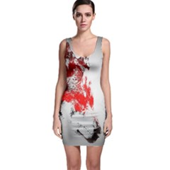 Red Black Wolf Stamp Background Sleeveless Bodycon Dress