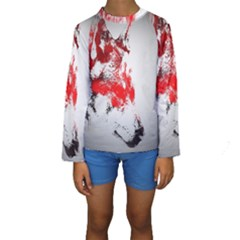 Red Black Wolf Stamp Background Kids  Long Sleeve Swimwear