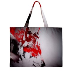 Red Black Wolf Stamp Background Zipper Mini Tote Bag by Nexatart