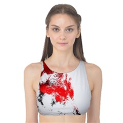 Red Black Wolf Stamp Background Tank Bikini Top