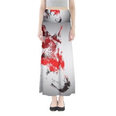 Red Black Wolf Stamp Background Maxi Skirts by Nexatart