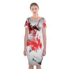 Red Black Wolf Stamp Background Classic Short Sleeve Midi Dress