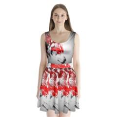 Red Black Wolf Stamp Background Split Back Mini Dress