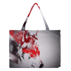 Red Black Wolf Stamp Background Medium Tote Bag