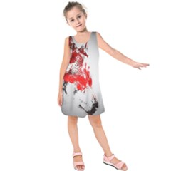 Red Black Wolf Stamp Background Kids  Sleeveless Dress