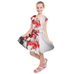 Red Black Wolf Stamp Background Kids  Short Sleeve Dress