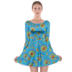 Digital Art Circle About Colorful Long Sleeve Skater Dress