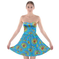 Digital Art Circle About Colorful Strapless Bra Top Dress