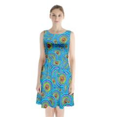 Digital Art Circle About Colorful Sleeveless Waist Tie Chiffon Dress