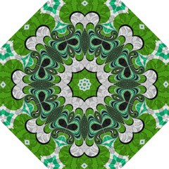 Fractal Art Green Pattern Design Hook Handle Umbrellas (medium)