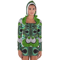 Fractal Art Green Pattern Design Women s Long Sleeve Hooded T Shirt
