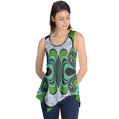 Fractal Art Green Pattern Design Sleeveless Tunic