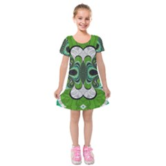 Fractal Art Green Pattern Design Kids  Short Sleeve Velvet Dress