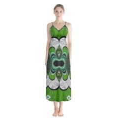 Fractal Art Green Pattern Design Chiffon Maxi Dress