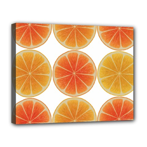 Orange Discs Orange Slices Fruit Canvas 14  X 11  by Nexatart