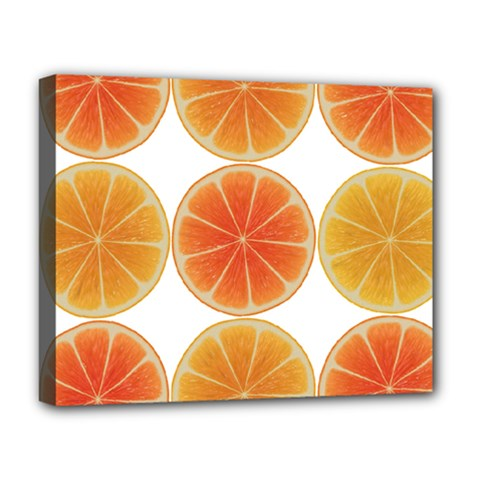 Orange Discs Orange Slices Fruit Deluxe Canvas 20  X 16   by Nexatart