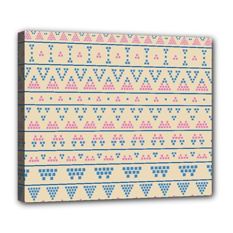 Blue And Pink Tribal Pattern Deluxe Canvas 24  X 20   by berwies