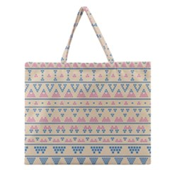 Blue And Pink Tribal Pattern Zipper Large Tote Bag by berwies
