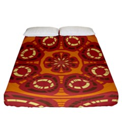 Dark Red Abstract Fitted Sheet (California King Size) by linceazul