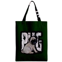 Pug Zipper Classic Tote Bag by Valentinaart