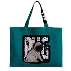 Pug Medium Zipper Tote Bag