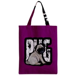 Pug Zipper Classic Tote Bag by Valentinaart