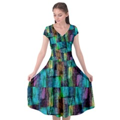 Abstract Square Wall Cap Sleeve Wrap Front Dress