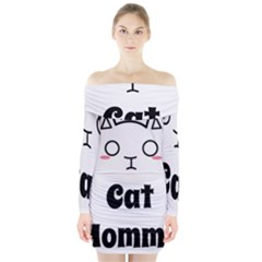 Love My Cat Mommy Long Sleeve Off Shoulder Dress by Catifornia