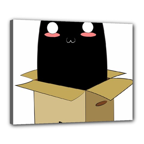 Black Cat In A Box Canvas 20  X 16  by Catifornia