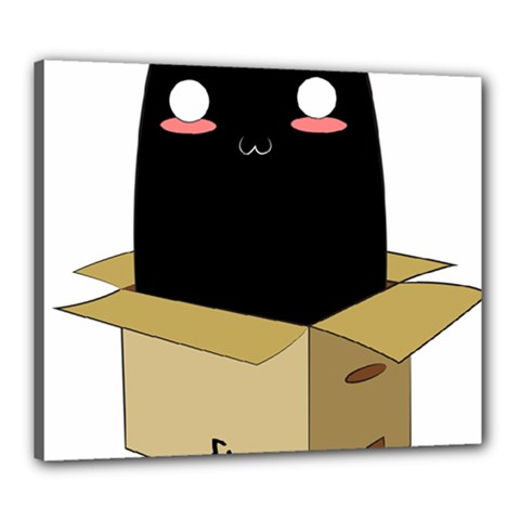 Black Cat In A Box Canvas 24  X 20  by Catifornia