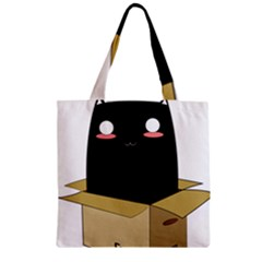 Black Cat In A Box Zipper Grocery Tote Bag by Catifornia