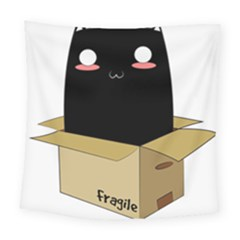 Black Cat In A Box Square Tapestry (large) by Catifornia