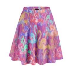 Flamingo Pattern High Waist Skirt by Valentinaart