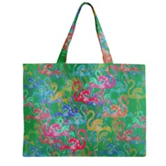 Flamingo Pattern Zipper Mini Tote Bag by Valentinaart