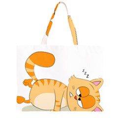 Even Cat Hates Monday Zipper Large Tote Bag by Catifornia